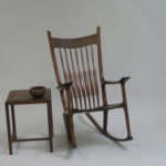 Walnut rocking chair & side table