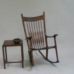 Walnut rocking chair & side table